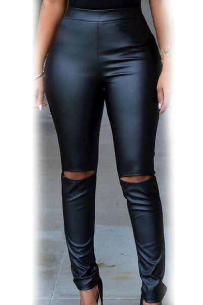 Black Faux Leather cut-out knee legging