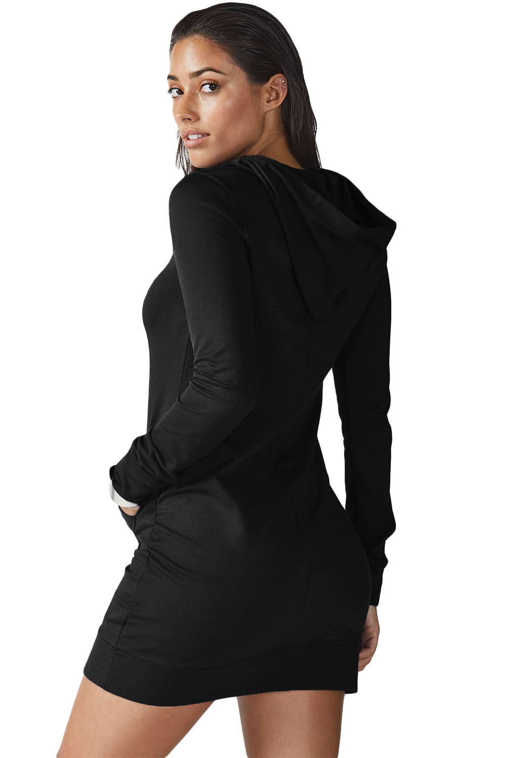 Black Slim Fit Hoodie Mini Dress - Front Pocket