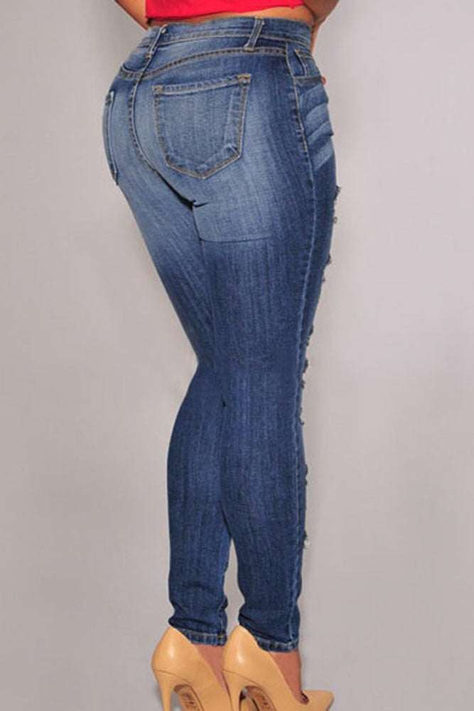 Blue Denim Destroyed Skinny Jeans - Jahnell's Closet