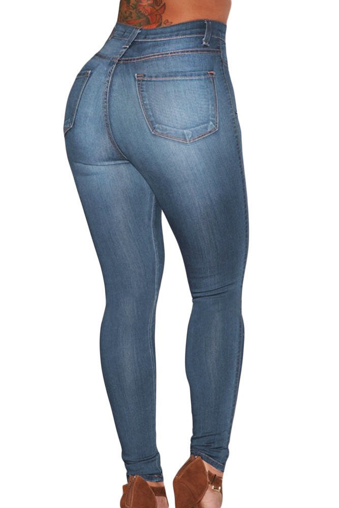 Dark Wash and Blue Medium Wash Denim - High-Waist Skinny Jeans