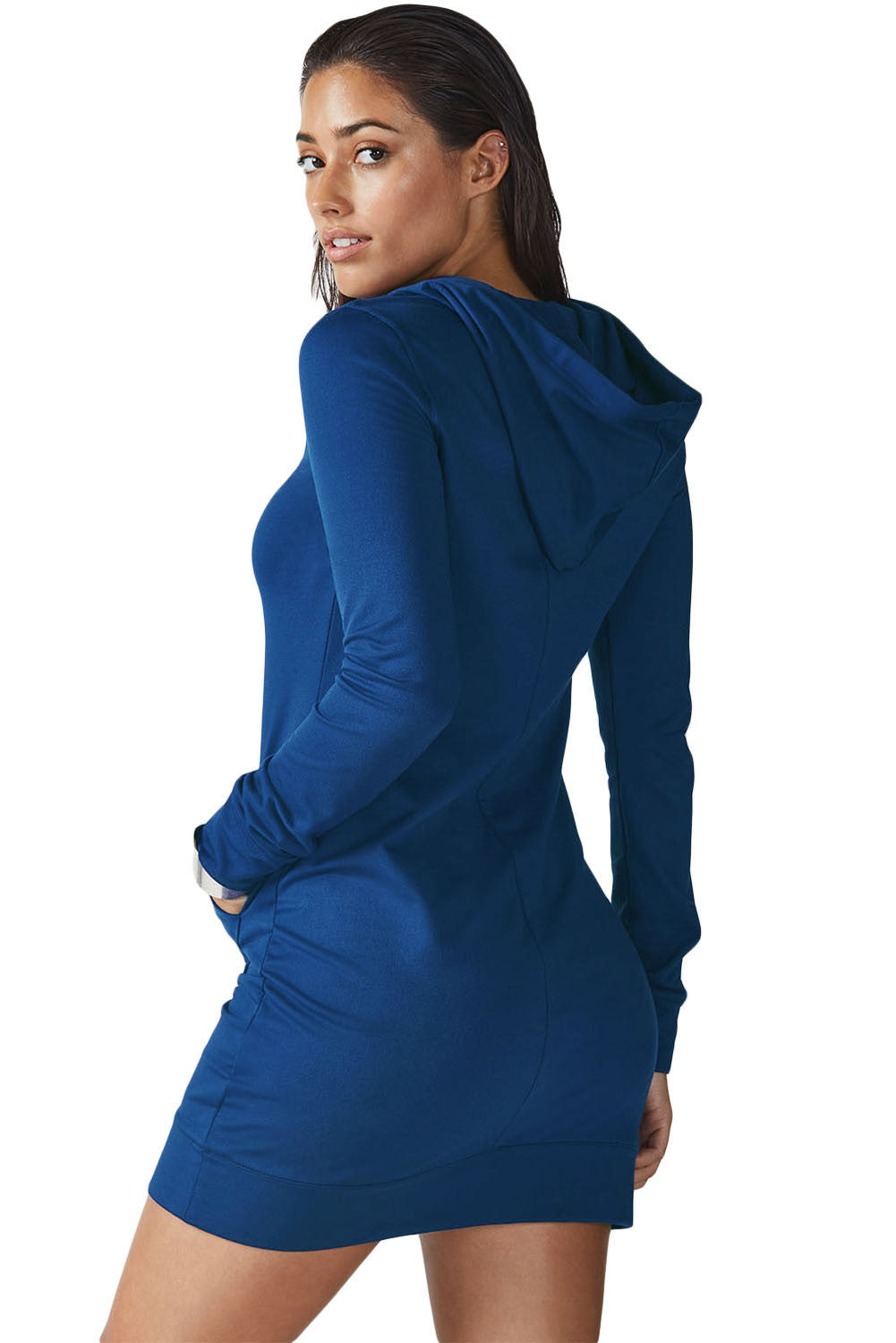Blue Slim Fit Hoodie Mini Dress - Front Pocket