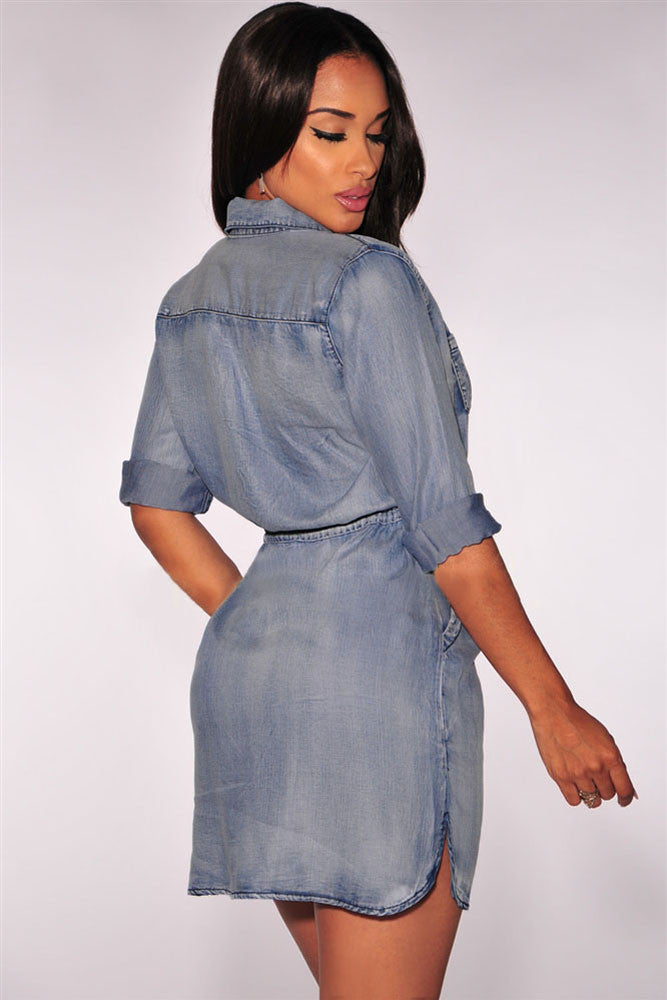 Button Down Denim Drawstring Dress - Jahnell's Closet