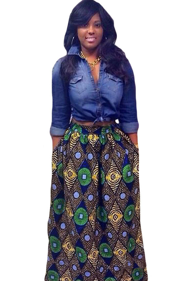 Chic Diamond African Print Maxi Skirt