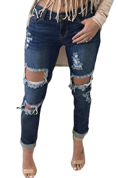 Jahnell's Closet Contemporary Distressed Jeans - Jahnell's Closet