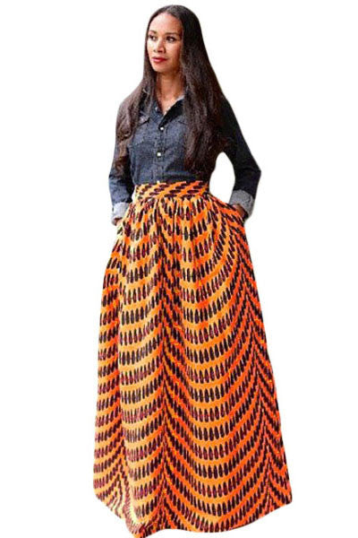 Deluxe African Print Maxi Skirt