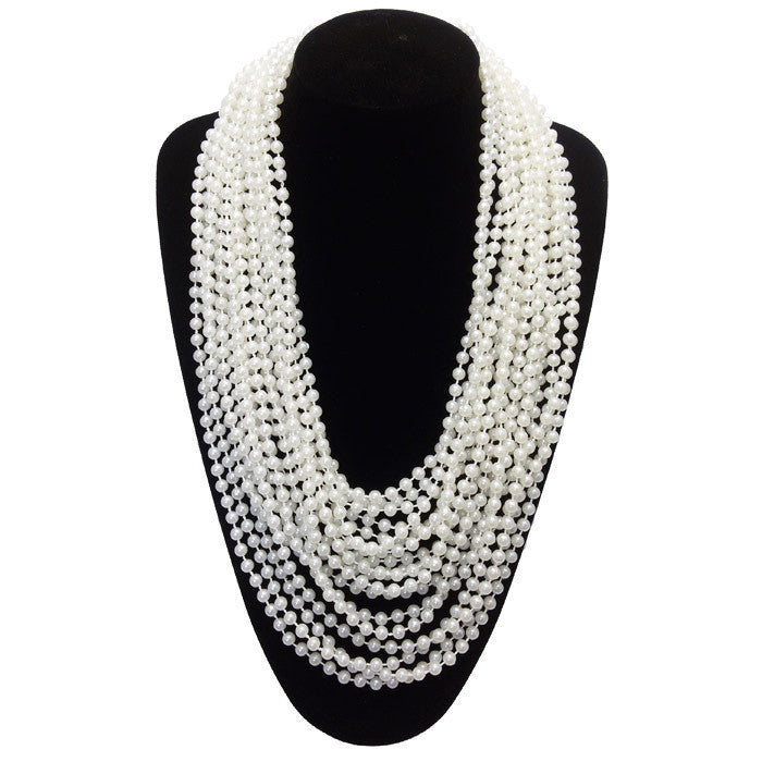 Elegant Long Multi-Layer Beaded White Pearl Necklace Choker - Jahnell's Closet