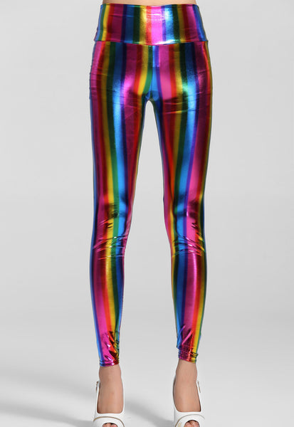 Hi-Waist Fluorescent Rainbow Leggings - Jahnell's Closet