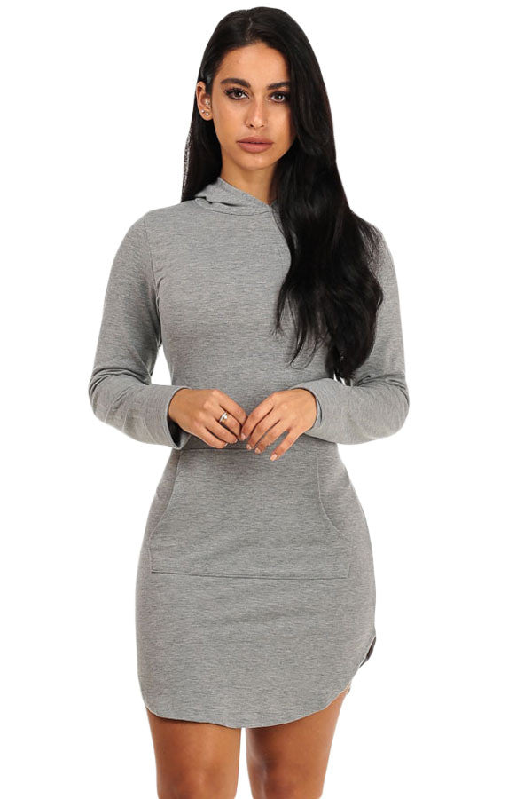 Grey Hoodie Mini Dress - Front Pocket