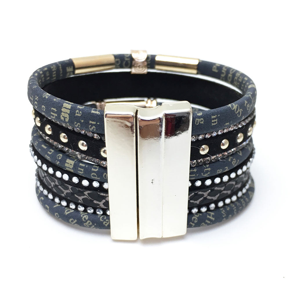 Handmade Leather Bracelet - Black - Jahnell's Closet