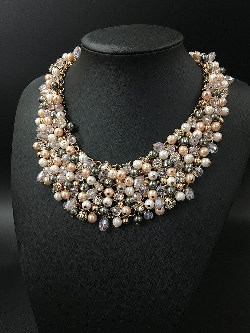 High Quality Full Crystal Pearl Necklace - Jahnell's Closet
