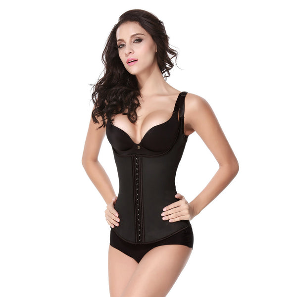 Bone Black Latex Vest - Waist Cincher