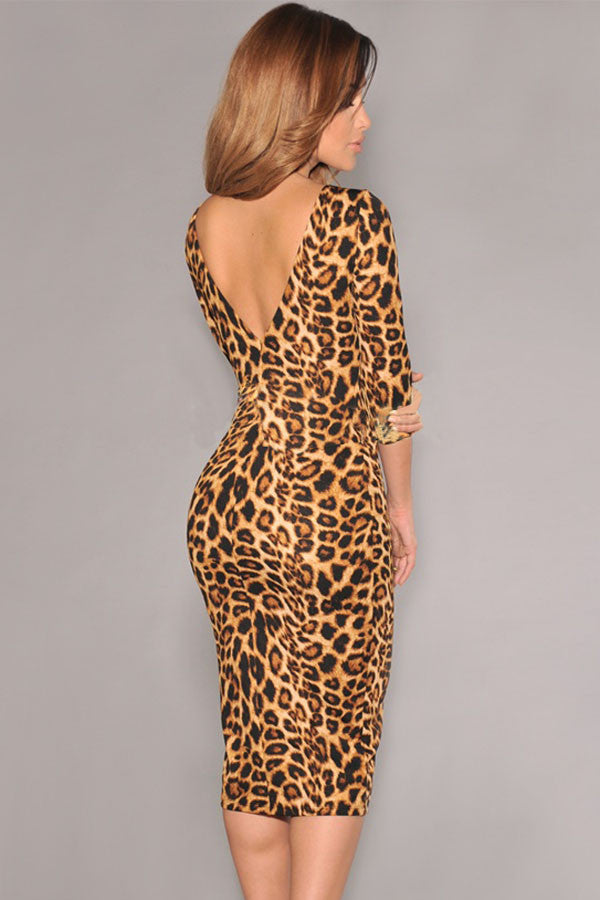 Leopard Print V-Back Dress - Jahnell's Closet