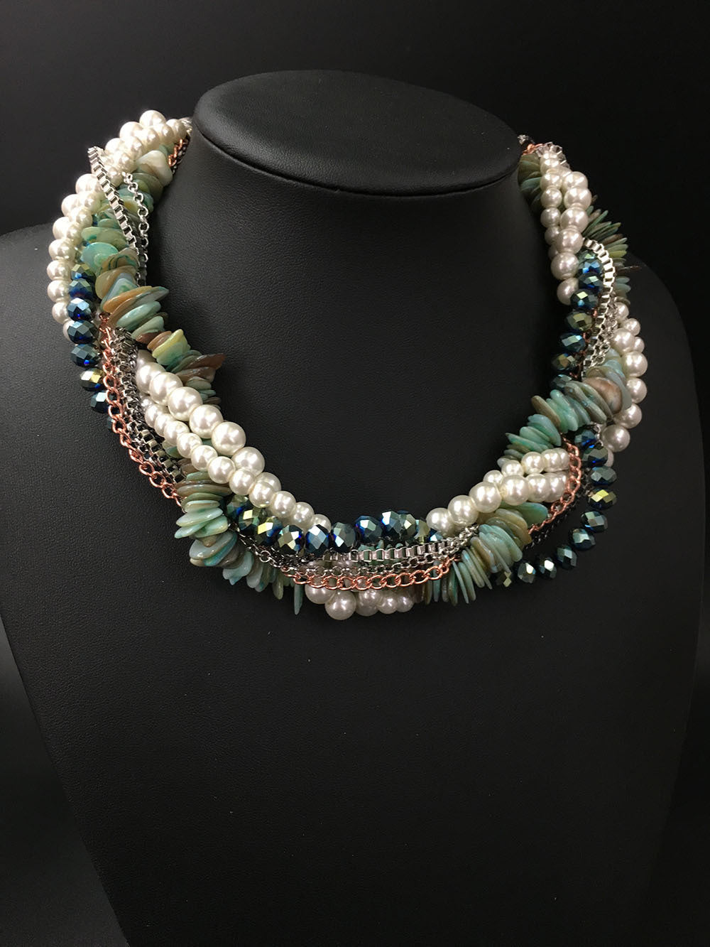 Multi-layer Crystal Necklace - Shell Chain & Pendants - Jahnell's Closet