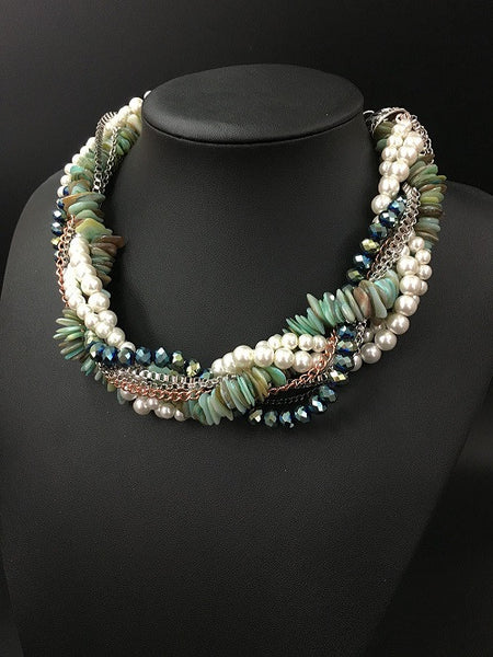 Multi-layer Crystal Necklace - Shell Chain & Pendants