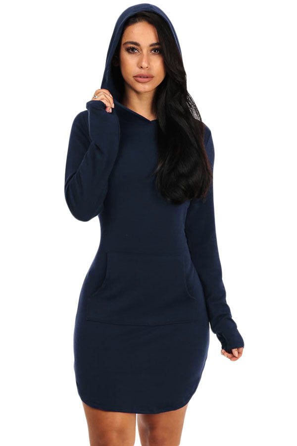 Navy Blue Hoodie Mini Dress - Front Pocket