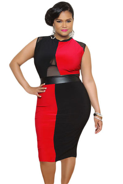 Plus Size Black and Red Sleeveless Midi Dress