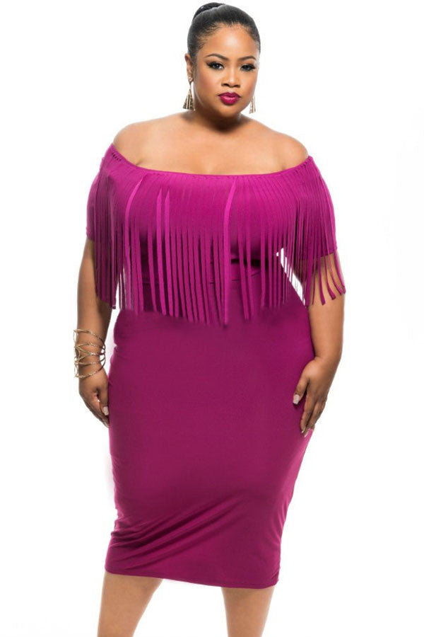 Plus Size Rose Short Sleeve Fringe Dress - Jahnell's Closet