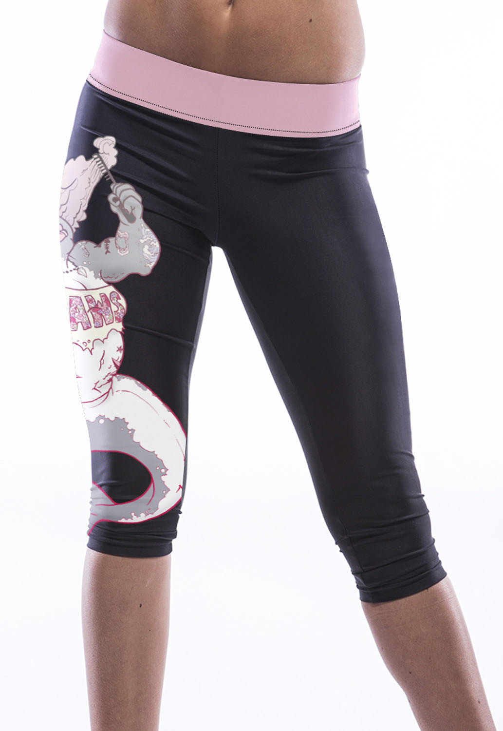 Punky Mermaid Print Knee-Length Yoga Leggings - Jahnell's Closet
