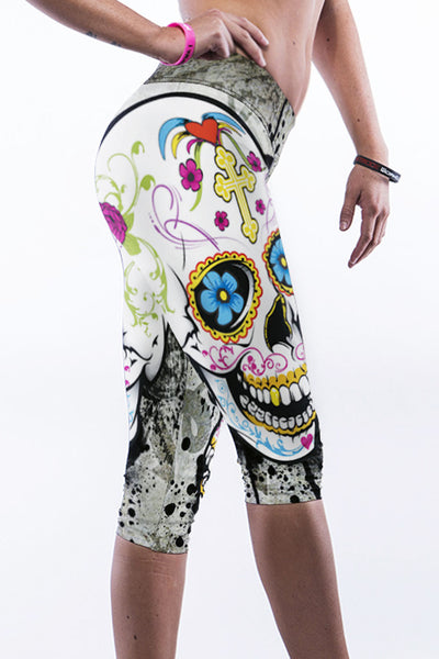 Floral Skull Print Knee-Length Yoga Leggings - Jahnell's Closet
