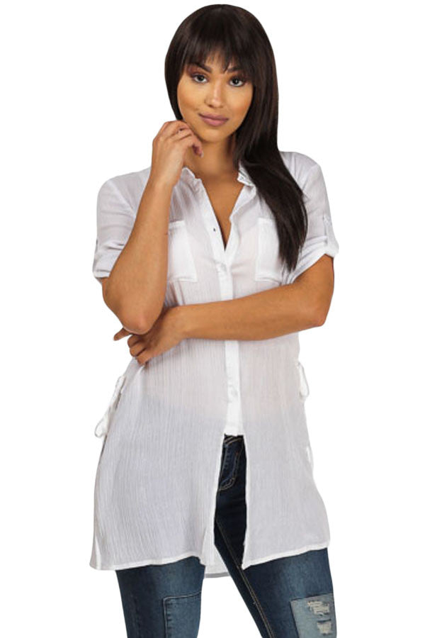 White Button up Tunic Top with Laced up Sides - Jahnell's Closet