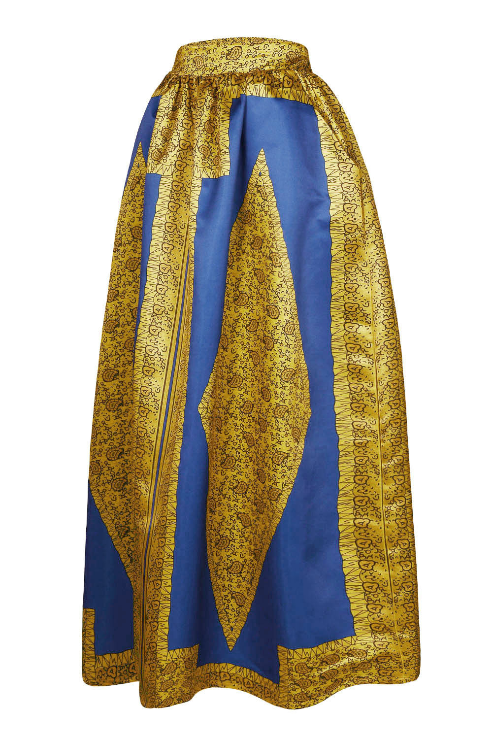 Yellow-Blue African Print Maxi Skirt