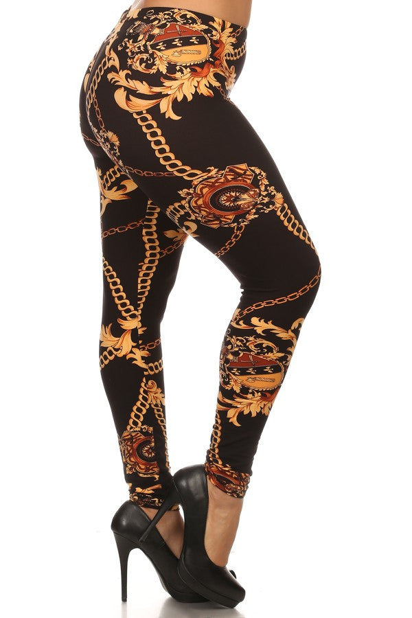 Chain and gold leaf printed knit leggings