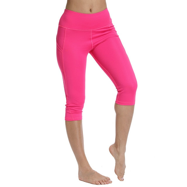 Women Capri Yoga Sport leggings with a pocket/Women Fitness Yoga Gym High Waist Full leggings Pocket