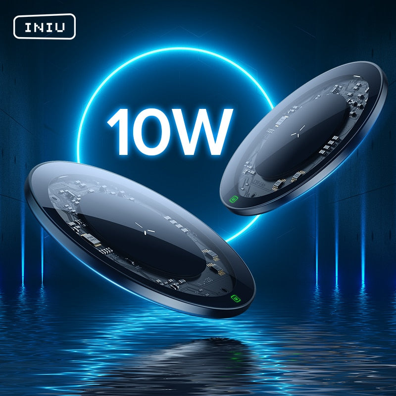10W Wireless Charger LED USB Type C Fast Charging Pad For iPhone 12 11 Pro Max Xs Xr X 8 Samsung S21 S20 S10 Note 20 10