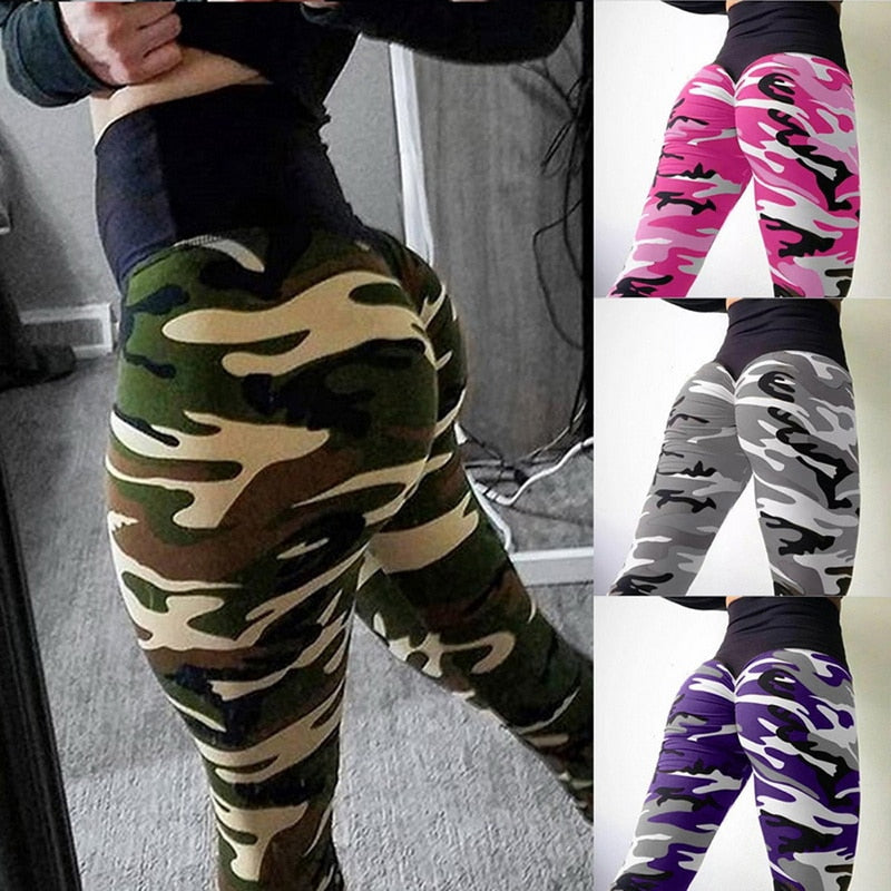 2021 Women's High Waist Slim Yoga Pants Camouflage Slim Pants Sports Fitness Workout Gym Leggings Breathable Hip