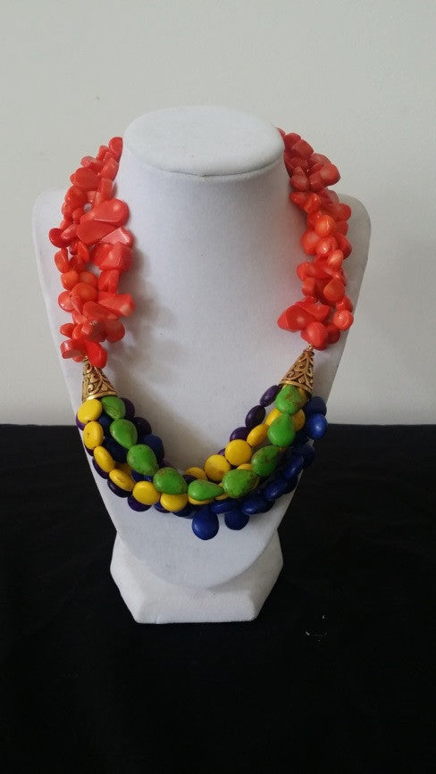 Orange Coral & Colorful magnesite beaded necklace with Brass Accent beads - Jahnell's Closet