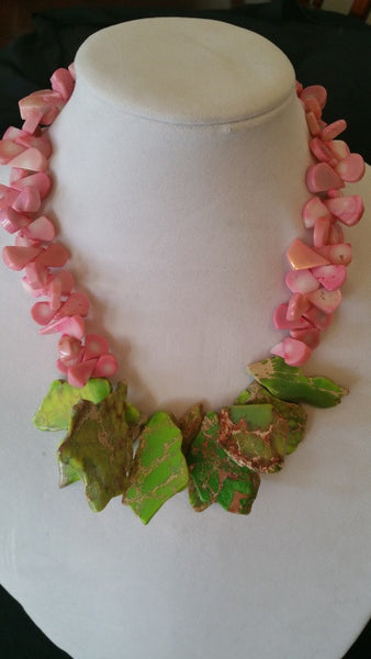 Pink Coral & Green Agate necklace - Sterling Silver Lobster Clasp - Jahnell's Closet