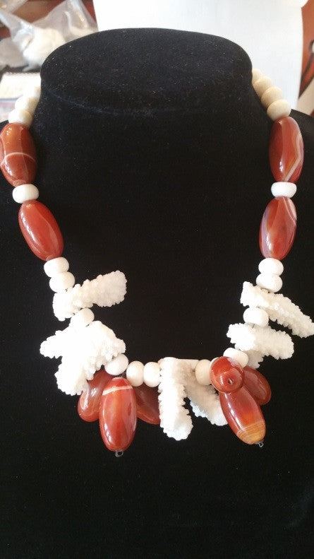 Handmade - (Exclusive) Carnelian and Coral Necklace - Jahnell's Closet
