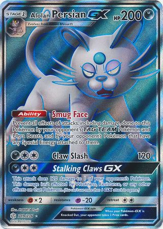 Alolan Persian GX Full Art - 219/236 - Ultra Rare