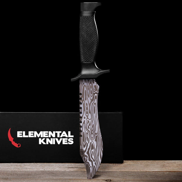 Damascus Steel Bowie Knife-Real Video Game Knife Skins-Elemental Knives