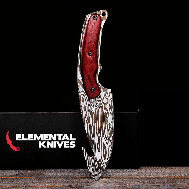 Damascus Steel Gut Knife-Real Video Game Knife Skins-Elemental Knives