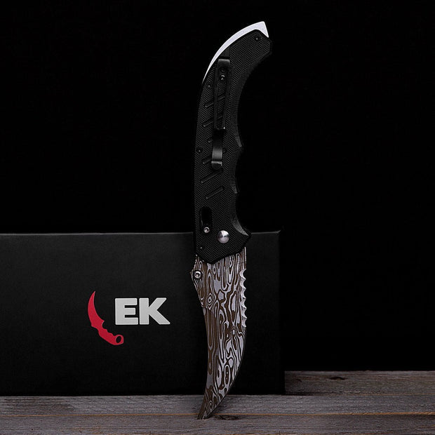 Damascus Steel Flip Knife-Real Video Game Knife Skins-Elemental Knives