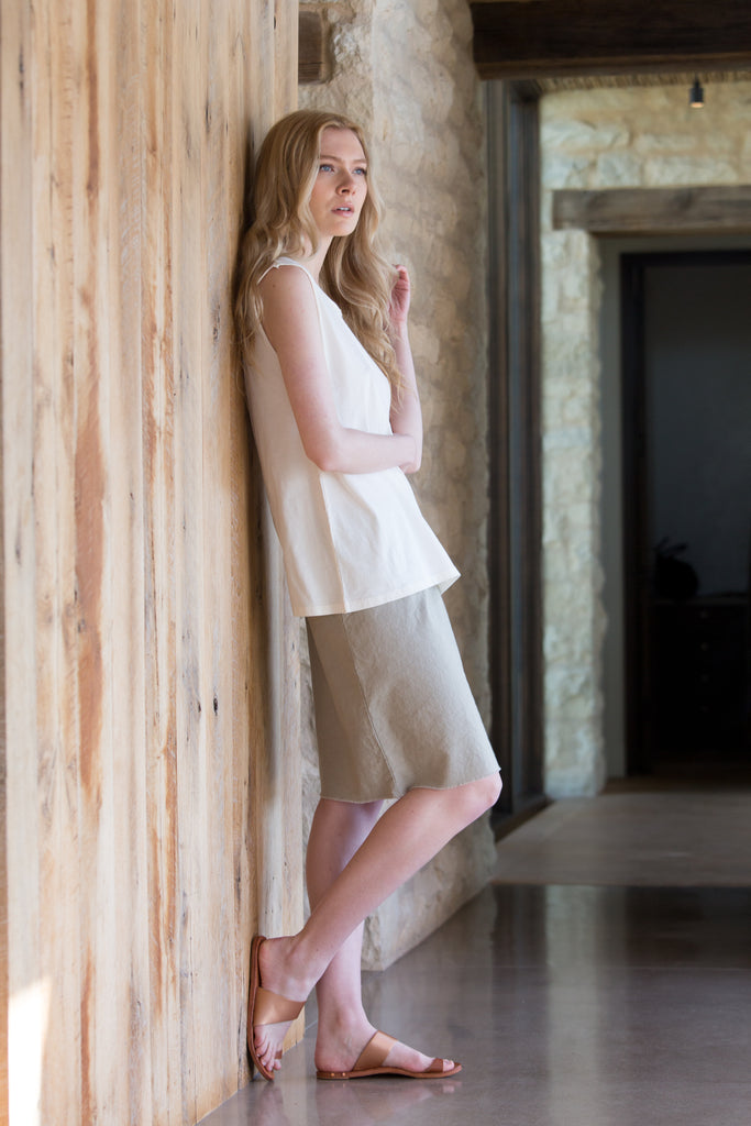 Paperbag Raw Hem Skirt