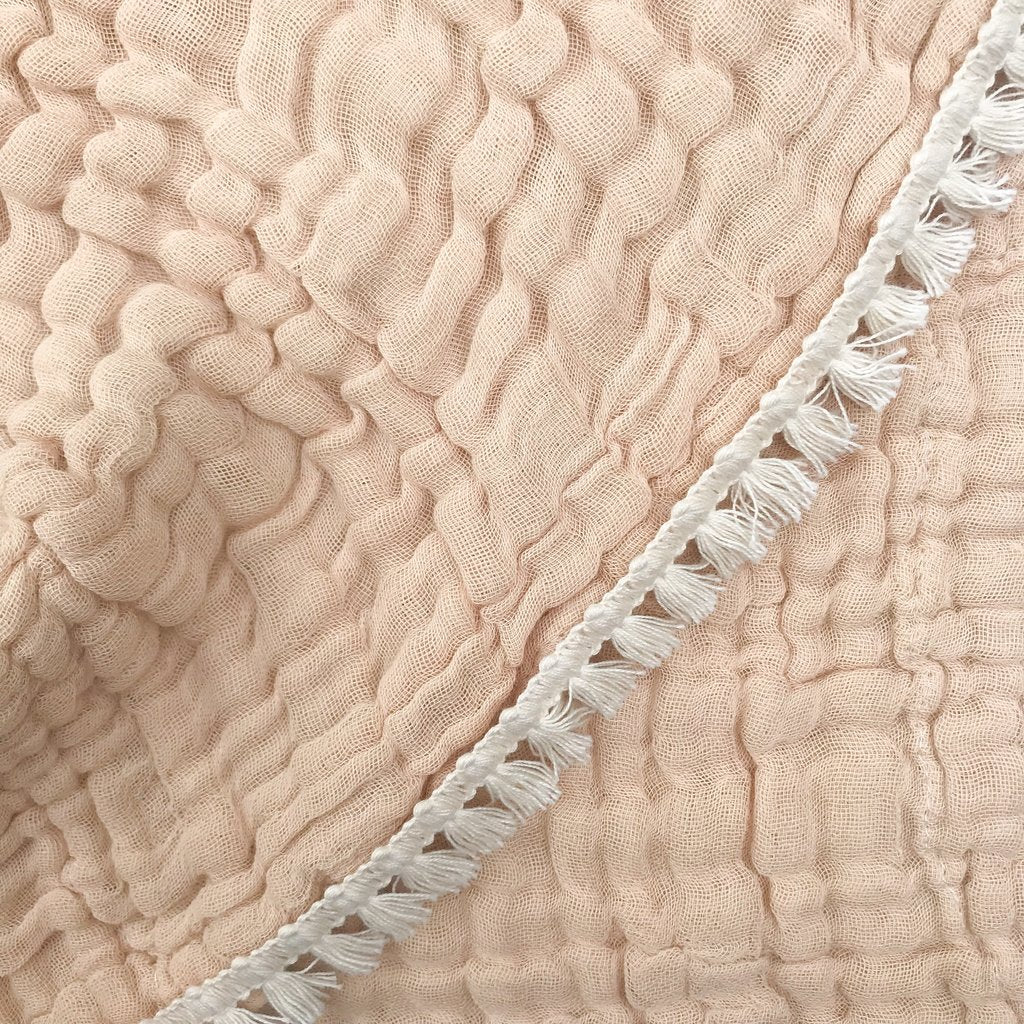 Gypsy Chai Fringed Organic Cotton Quilted Muslin Blanket<br> by Dove and Dovelet