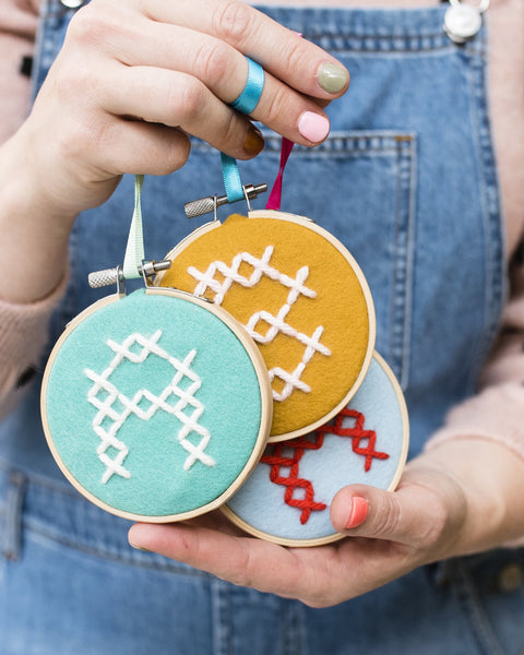 Alphabet Cross Stitch Felt Hoops Kit