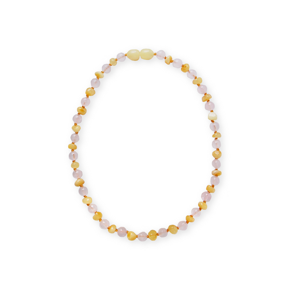 Amber + Pink Rose Quartz Necklace<br>Baltic Essentials