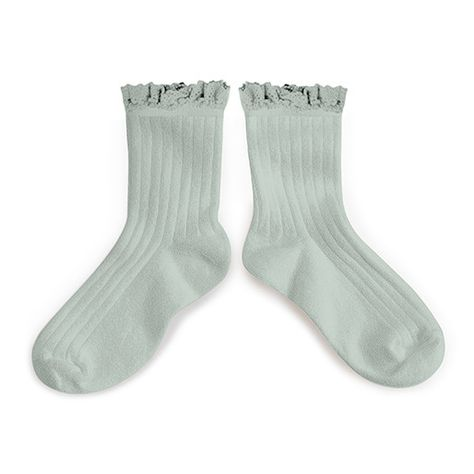Collegien Lace Trim Ankle Socks - aigue marine