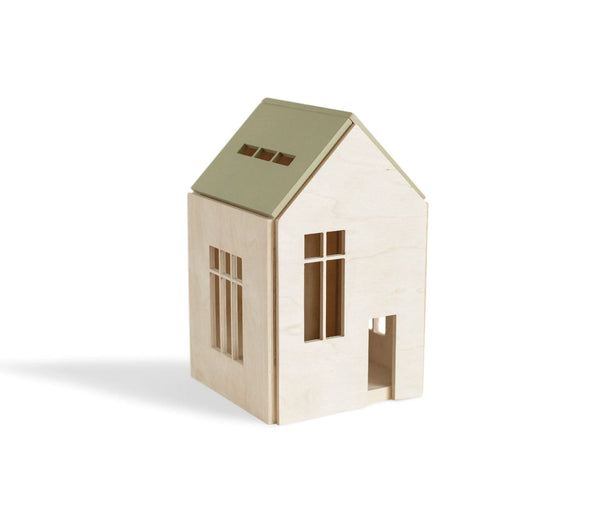 Khaki Wooden Dollhouse w/ Magnets - Large <br>Babai