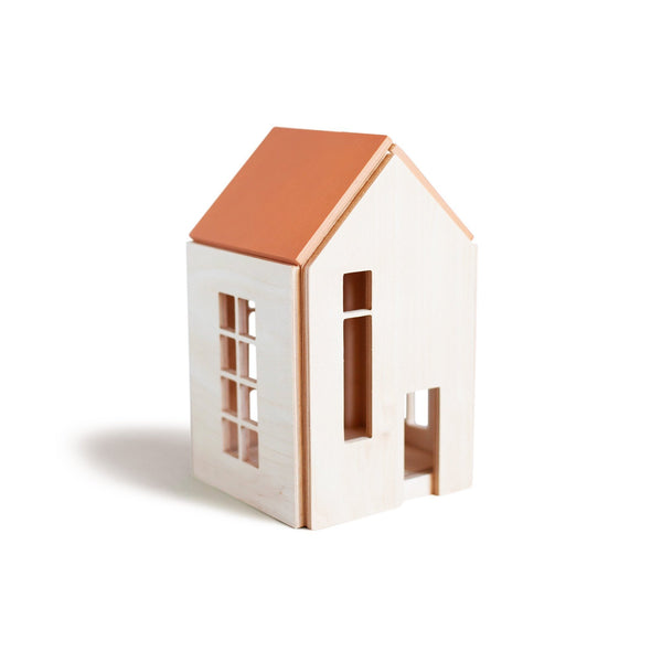 Terra Cotta Wooden Dollhouse w/ Magnets - Medium <br>Babai