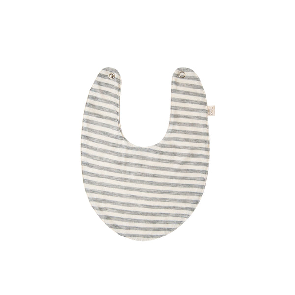 Jersey Stripe Bib - gray/natural