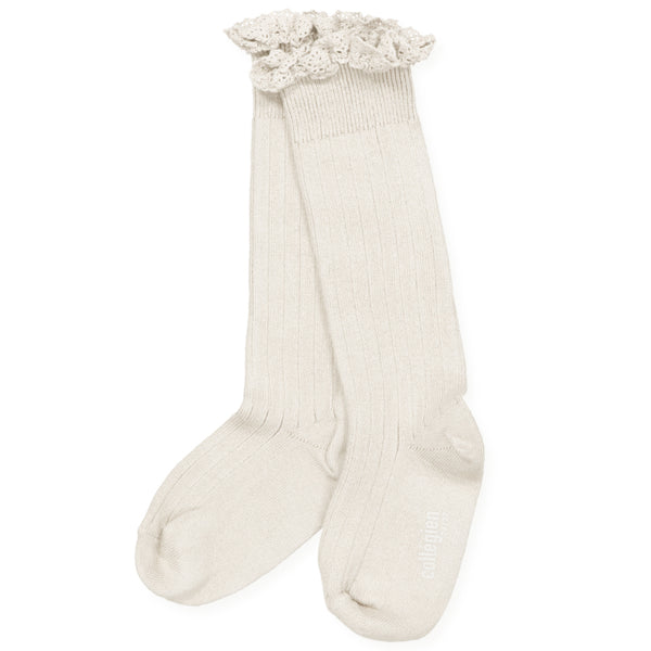 Collegien Ruffle Knee Socks - cream