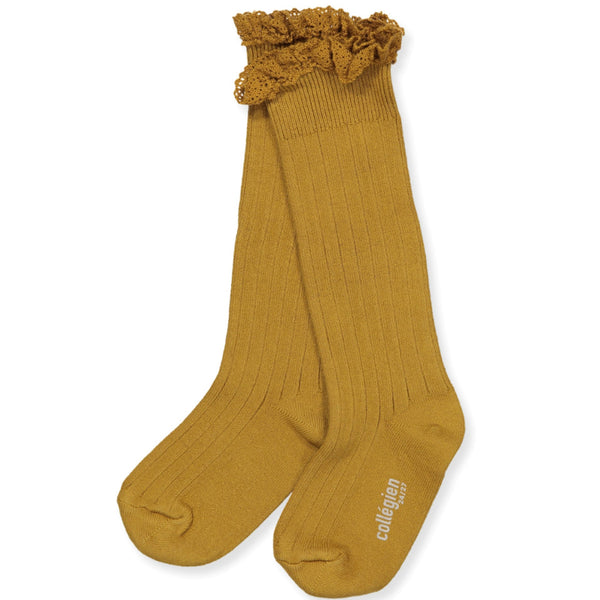Collegien Ruffle Knee Socks - mustard