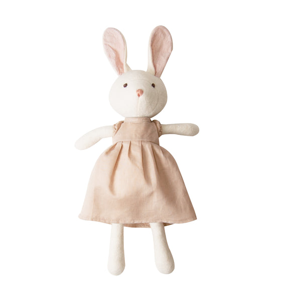 Emma Rabbit in Peach Linen Dress <br>Hazel Village