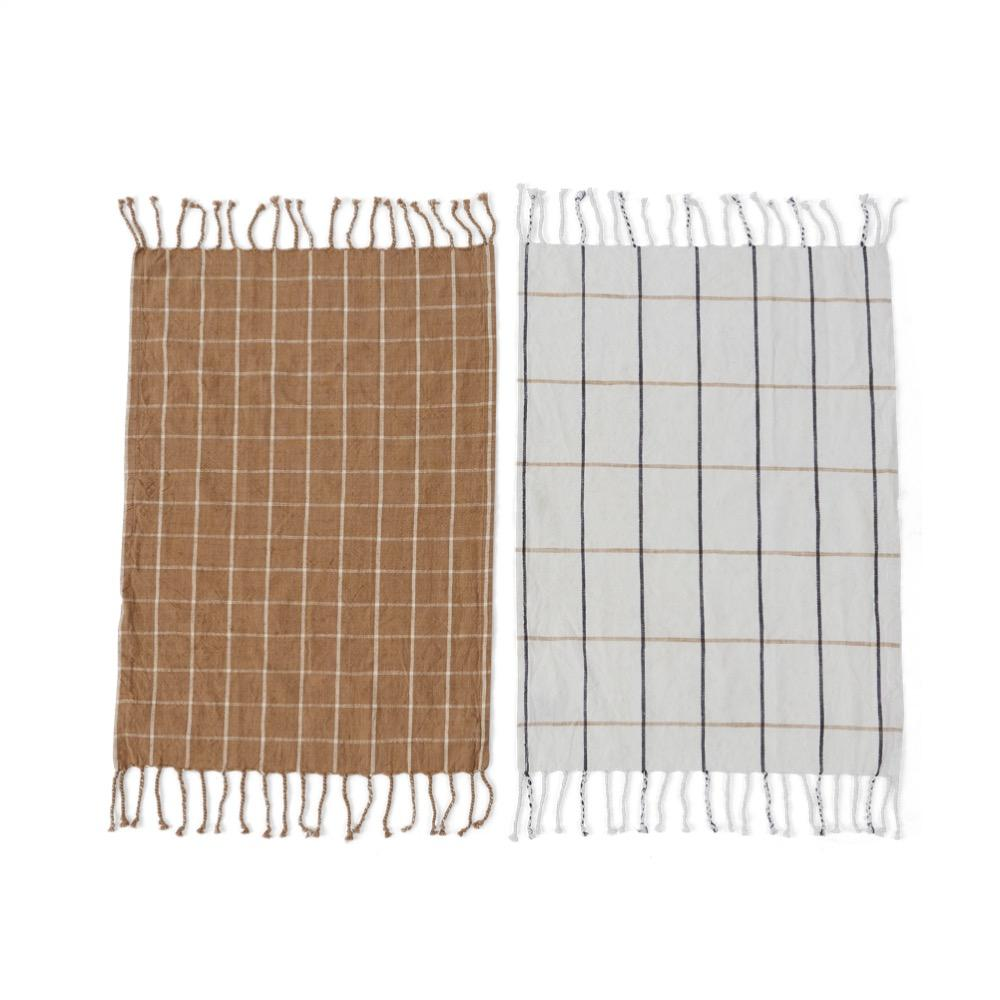 Gobi Tea Towel - 2 pack - clay/ cream grid