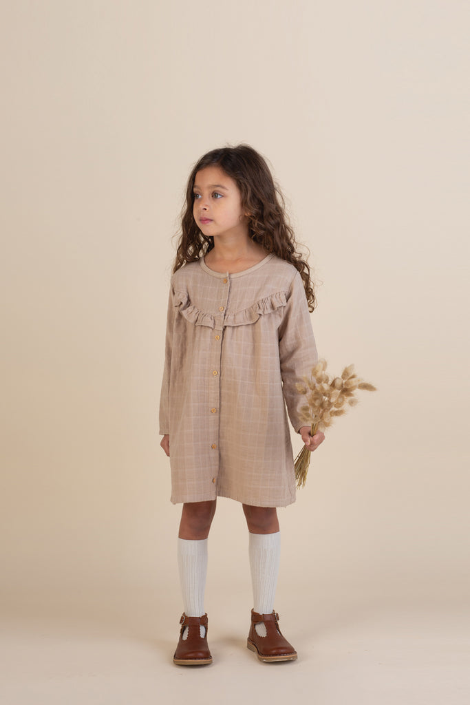 Gauze Ruffle Smock Dress