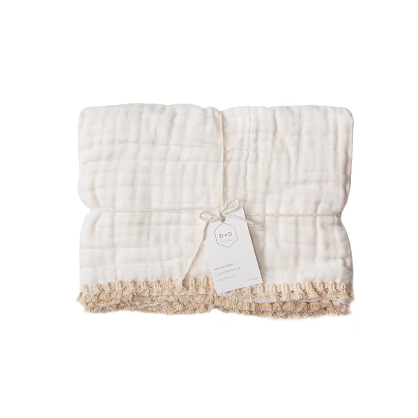 Gypsy Fringed Organic Cotton Quilted Muslin Blanket <br>Dove and Dovelet
